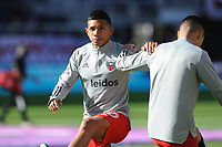 WASHINGTON, DC - MARCH 07: Edison Flores #10 of D.C. United during pre game warmups during a game between Inter Miami CF and D.C. United at Audi Field on March 07, 2020 in Washington, DC.