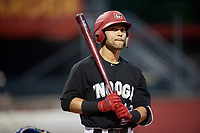 Chattanooga Lookouts designated hitter Zander Wiel (43) at bat during a game against the Jackson Generals on May 9, 2018 at AT&T Field in Chattanooga, Tennessee.  Chattanooga defeated Jackson 4-2.  (Mike Janes/Four Seam Images)