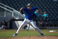 Duke Blue Devils relief pitcher Aaron Beasley (16) in action against the Coastal Carolina Chanticleers at Segra Stadium on November 2, 2019 in Fayetteville, North Carolina. (Brian Westerholt/Four Seam Images)