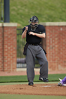 Home plate umpire Lindy Hall makes a strike call during the NCAA baseball game between the North Carolina Central Eagles and the High Point Panthers at Williard Stadium on February 28, 2017 in High Point, North Carolina. The Eagles defeated the Panthers 11-5. (Brian Westerholt/Four Seam Images)