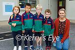 Junior infants in Scoil Mhaolchéadair in Murrreagh on Tuesday. L to r: Everly Ní Fhathaigh-Spinn, Mark Ó Muircheartaigh, Tomás and Liam Ó Murchú and Michelle Ní Conchuir (Teacher).
