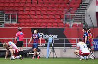 27th March 2021; Ashton Gate Stadium, Bristol, England; Premiership Rugby Union, Bristol Bears versus Harlequins; Callum Sheedy of Bristol Bears kicks the conversion making Bristol Bears winners 25-23