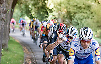 fresh 2020 World Champion Julian Alaphilippe (FRA/Deceuninck-QuickStep) riding very comfortably behind Dries Devenyns' (BEL/Deceuninck - QuickStep) back in his very first race in the Rainbow Jersey<br /> <br /> 106th Liège-Bastogne-Liège 2020 (1.UWT)<br /> 1 day race from Liège to Liège (257km)<br /> <br /> ©kramon