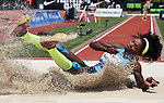 Catherine Ibarguen of Colombia lands in the pit on her way to winning the Women's Triple Jump on the final day of the Prefontaine Classic at Hayward Field in Eugene, Oregon, USA, 30 MAY 2015. (EPA photo by Steve Dykes)