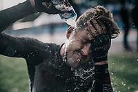 Luke Durbridge (AUS/BikeExchange) cleaning his post-race face<br /> <br /> 118th Paris-Roubaix 2021 (1.UWT)<br /> One day race from Compiègne to Roubaix (FRA) (257.7km)<br /> <br /> ©kramon