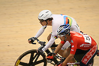 New Zealand's Aaron Gate, left, and Hong Kong China's Chu Wing Leung in the men omnium 30km points race at the UCI Tier 1 Festival of Speed, SIT Zero Fees Velodrome, Invercargill, New Zealand, Saturday, November 16, 2013. Credit:NINZ/Dianne Manson