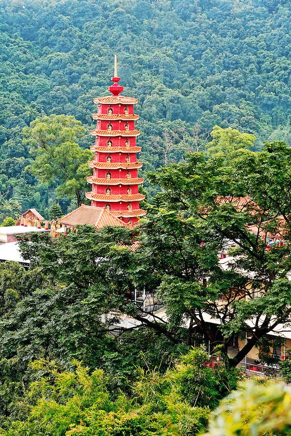 Pagoda of the Monastery at Ten Thousand Buddhas temple, Sha Tin, New Territories, Hong Kong SAR, People's Repbulic of China, Asia