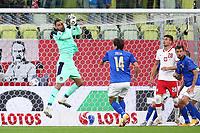 11th October 2020, The Stadion Energa Gdansk, Gdansk, Poland; UEFA Nations League football, Poland versus Italy; Gianluigi Donnarumma saves below his crossbar