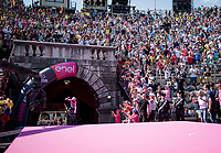Maglia Rosa / overall leader Richard Carapaz (ECU/Movistar) entering the Verona amphitheater after finishing the closing iTT and being the official Giro winner at that very moment<br /> <br /> Stage 21 (ITT): Verona to Verona (17km)<br /> 102nd Giro d'Italia 2019<br /> <br /> ©kramon