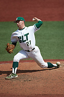 Charlotte 49ers relief pitcher Christian Lothes (27) in action against the UTSA Roadrunners at Hayes Stadium on April 18, 2021 in Charlotte, North Carolina. (Brian Westerholt/Four Seam Images)