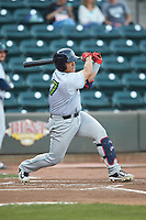Li-Jen Chu (27) of the Lynchburg Hillcats follows through on his swing against the Winston-Salem Dash at BB&T Ballpark on May 3, 2018 in Winston-Salem, North Carolina. The Dash defeated the Hillcats 5-3. (Brian Westerholt/Four Seam Images)