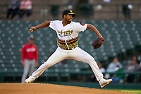 Rochester Red Wings pitcher Luis Reyes (52) during a game against the Worcester Red Sox on September 2, 2021 at Frontier Field in Rochester, New York.  (Mike Janes/Four Seam Images)