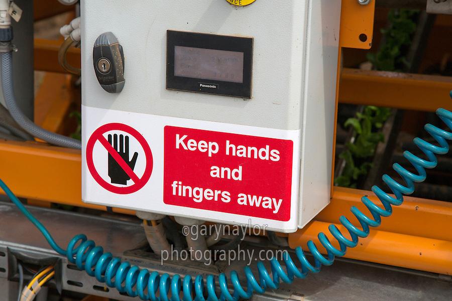 Warning sign on machine