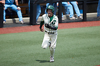 Austin Knight (14) of the Charlotte 49ers hustles towards home plate against the Old Dominion Monarchs at Hayes Stadium on April 25, 2021 in Charlotte, North Carolina. (Brian Westerholt/Four Seam Images)