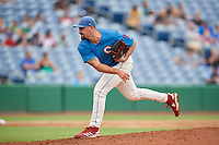 Clearwater Threshers relief pitcher Blake Quinn (55) delivers a pitch during a game against the St. Lucie Mets on August 11, 2018 at Spectrum Field in Clearwater, Florida.  St. Lucie defeated Clearwater 11-0.  (Mike Janes/Four Seam Images)