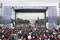 The stage before US President Donald J. Trump delivers remarks to supporters gathered to protest Congress' upcoming certification of Joe Biden as the next president on the Ellipse in Washington, DC, USA, 06 January 2021. Various groups of Trump supporters are gathering to protest as Congress prepares to meet and certify the results of the 2020 US Presidential election.<br /> Credit: Shawn Thew / Pool via CNP/AdMedia