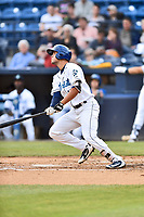 Asheville Tourists designated hitter Sean Bouchard (13) swings at a pitch during a game against the Greensboro Grasshoppers at McCormick Field on May 11, 2018 in Asheville, North Carolina. The Tourists defeated the Grasshoppers 10-5. (Tony Farlow/Four Seam Images)