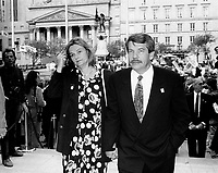 Montreal (Qc) CANADA - 1992 File Photo - Jean Dore, Mayor of Montreal arrive at Notre-Dame Basilica with his wife, for the 350th anniversary of Montreal mass