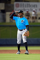 Miami Marlins third baseman Demetrius Sims (41) during a Major League Spring Training game against the Washington Nationals on March 20, 2021 at FITTEAM Ballpark of the Palm Beaches in Palm Beach, Florida.  (Mike Janes/Four Seam Images)