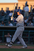 Ryon Healy #27of the Stockton Ports bats against the Lancaster JetHawks at The Hanger on June 24, 2014 in Lancaster, California. Stockton defeated Lancaster, 6-4. (Larry Goren/Four Seam Images)