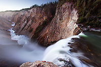 Brink of Lower Falls of the Yellowstone River, Grand Canyon of the Yellowstone, Yellowstone National Park, Wyoming, USA