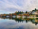 DAsh Point, on Pugest Sound near Tacoma, Washington, USA.  Waterfront homes and fall color.  Dash Point Park, City of Tacoma parks.