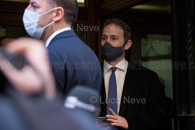 Davide Casaleggio (Son of co-founder of the Five Star Movement, Gianroberto Casaleggio, and President of Casaleggio Associati).<br /> <br /> Rome, 06/02/2021. Today, the designated Italian Prime Minister - and former President of the European Central Bank -, Mario Draghi, held his third day of consultations at Palazzo Montecitorio, meeting delegations of the Italian political parties in his attempt to form the new Italian Government.
