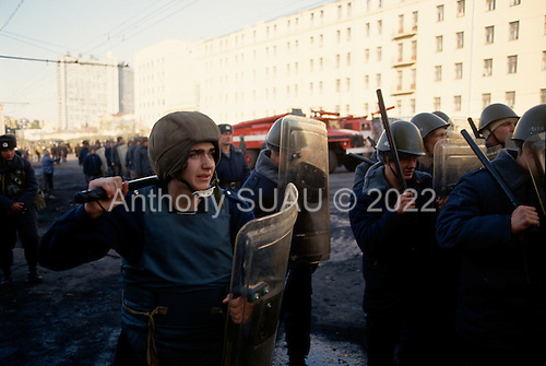Moscow, Russia.October 3, 1993..Anti-Yeltsin communist demonstrators over take the police street by street as they fight their way to the Parliament building with both sides taking casualties...