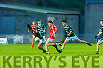 East Kerry's Luke Crowley gets his shot in under pressure from Liam Og Kingston and Eddie McCarthy  St Brendans in the County Minor football final in Austin Stack Park on Wednesday evening