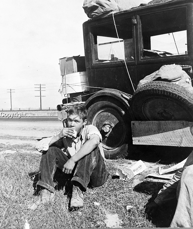 No Known Restrictions: Son of depression refugee from Oklahoma now in California by Dorothea Lange, 1936 (LOC)