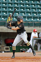 Bristol Pirates outfielder Conner Uselton (25) at bat during a game against the Greeneville Reds at Pioneer Field on June 20, 2018 in Greeneville, Tennessee. Bristol defeated Greeneville 11-0. (Robert Gurganus/Four Seam Images)