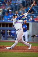 Midland RockHounds shortstop Chad Pinder (2) at bat during a game against the Tulsa Drillers on June 2, 2015 at Oneok Field in Tulsa, Oklahoma.  Midland defeated Tulsa 6-5.  (Mike Janes/Four Seam Images)