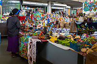 Willemstad, Curacao, Lesser Antilles.  Vendors Stands in the Central Market.