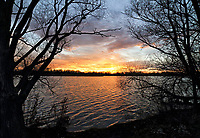 Winter Sunset over the lakes at Priory Country Park, Bedford, Bedfordshire, UK on Tuesday November 24th 2020