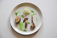 Europe/France/Rhône-Alpes/73/Savoie/Le Bourget-du-Lac: Pigeon rôti en cocotte au jus de verveine, recette de Jean-Pierre Jacob - Restaurant: Le Bateau Ivre à l'Hôtel Ombremont