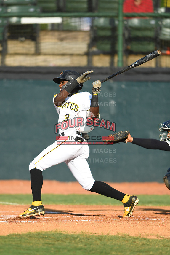 Bristol Pirates Jesus Valdez (3) follows through with his swing against the Pulaski Yankees at Boyce Cox Field on July 8, 2019 in Bristol, Virginia. The Yankees defeated the Pirates 5-0. (Tracy Proffitt/Four Seam Images)