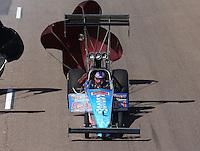 Feb. 23, 2013; Chandler, AZ, USA; NHRA top fuel dragster driver Mike Strasburg during qualifying for the Arizona Nationals at Firebird International Raceway. Mandatory Credit: Mark J. Rebilas-