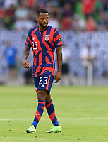 AUSTIN, TX - JULY 29: Kellyn Acosta #23 of the United States gets ready for a corner kick during a game between Qatar and USMNT at Q2 Stadium on July 29, 2021 in Austin, Texas.