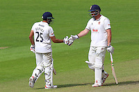 Jesse Ryder (R) congratulates Ravi Bopara of Essex on reaching his fifty during Glamorgan CCC vs Essex CCC, Specsavers County Championship Division 2 Cricket at the SSE SWALEC Stadium on 23rd May 2016