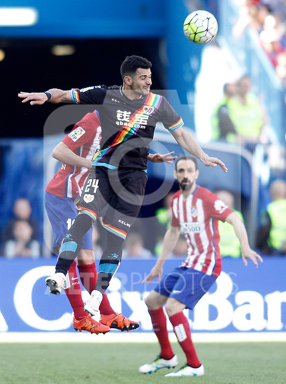 Atletico de Madrid's Juanfran Torres (r) and Rayo Vallecano's Javi Guerra during La Liga match. April 30,2016. (ALTERPHOTOS/Acero)