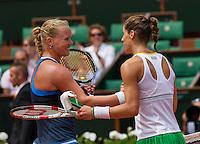 France, Paris, 02.06.2014. Tennis, French Open, Roland Garros, Kiki Bertens (NED) congratulates  Andrea Petkovic (GER) (R)<br /> Photo:Tennisimages/Henk Koster