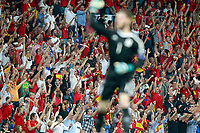 Spain's David De Gea and the supporters celebrate goal during FIFA World Cup 2018 Qualifying Round match. September 2,2017.(ALTERPHOTOS/Acero)