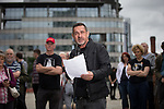 © Joel Goodman - 07973 332324 . 14/08/2016 . Manchester , UK . PAUL MASON reads at the commemoration . A memorial on the site of The Peterloo Massacre ( formerly St Peter's Field , now the Manchester Central Convention Centre ) , attended by Maxine Peake and Paul Mason . On 16th August 1819 , a rally calling for Parliamentary reform , improved workers rights and against poverty was brutally suppressed by sabre-wielding cavalrymen , resulting in the deaths of fifteen people and many hundreds injured . Photo credit : Joel Goodman