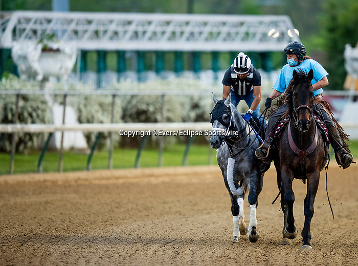 April 28, 2021: Travel Column gallops in preparation for the Kentucky Oaks at Churchill Downs in Louisville, Kentucky on April 28, 2021. EversEclipse Sportswire/CSM