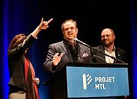 Valerie Plante et Projet Montreal remportent l'election municipale contre Denis Coderre, le 5 novembre 2017.<br /> <br /> en photo :  Benoit Dorais