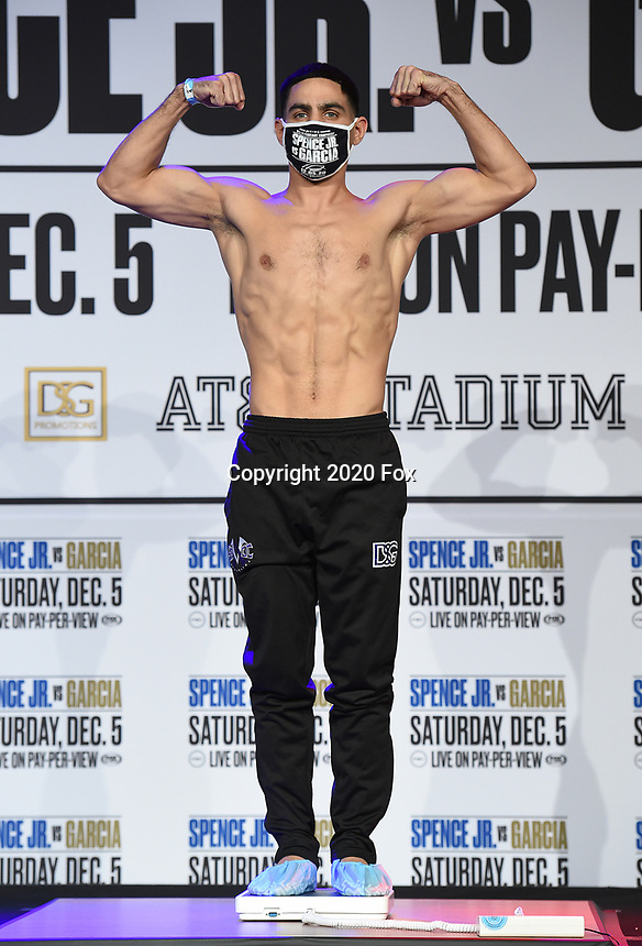DALLAS, TX - DECEMBER 4: Danny Garcia attends the weigh-in for the Errol Spence Jr. vs Danny Garcia December 5, 2020 Fox Sports PBC Pay-Per-View fight night at AT&T Stadium in Arlington, Texas. (Photo by Frank Micelotta/Fox Sports)