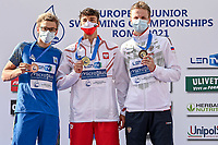 MASIUK Ksawery POL Gold Medal, ZHELTYAKOV Oleksandr UKR Silver Medal, TKACHEV Aleksei A. RUS Bronze Medal<br /> Men 100m Backstroke Final<br /> swimming, nuoto<br /> LEN European Junior Swimming Championships 2021<br /> Rome 2177<br /> Stadio Del Nuoto Foro Italico <br /> Photo Andrea Masini / Deepbluemedia / Insidefoto