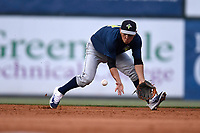 Shortstop Andres Gimenez (13) of the Columbia Fireflies plays defense in a game against the Greenville Drive on Wednesday, June 14, 2017, at Fluor Field at the West End in Greenville, South Carolina. Columbia won, 6-2, in 11 innings. (Tom Priddy/Four Seam Images)