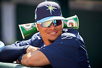 Tampa Bay Rays shortstop Willy Adames (27) in the dugout during a Spring Training game against the Pittsburgh Pirates on March 10, 2017 at LECOM Park in Bradenton, Florida.  Pittsburgh defeated New York 4-1.  (Mike Janes/Four Seam Images)