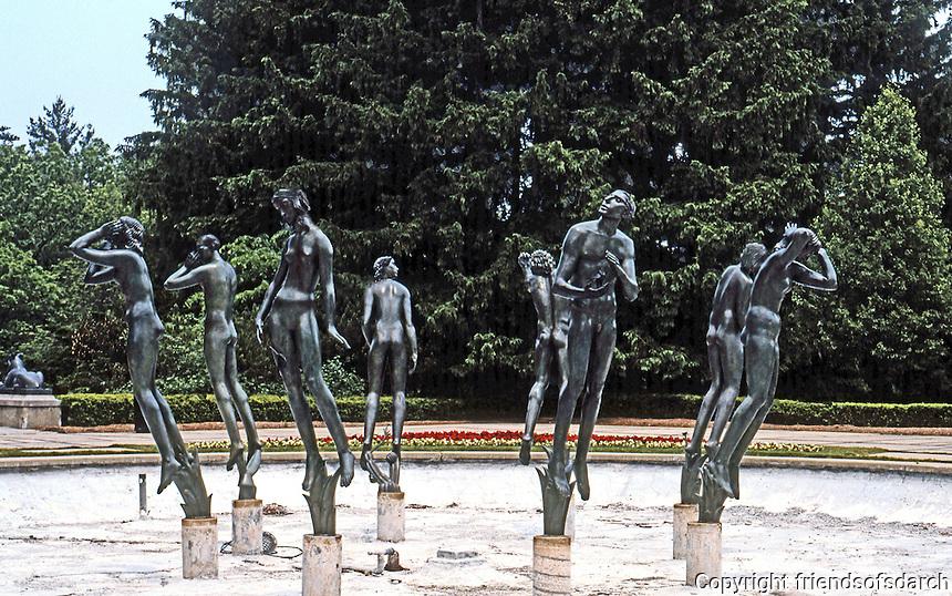 Eliel Saarinen: Cranbrook Academy--Carl Milles Sculptural Group and Fountain. Photo '97.